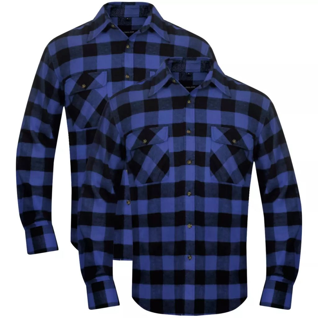 Pánska vystužená flanelová pracovná košeľa, modro-čierne kocky, veľkosť XL
