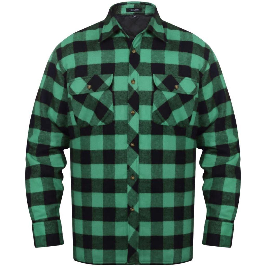 Pánska vystužená flanelová pracovná košeľa, zeleno-čierne kocky, veľkosť L