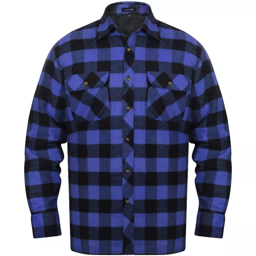 Pánska vystužená flanelová pracovná košeľa, modro-čierne kocky, veľkosť XXL