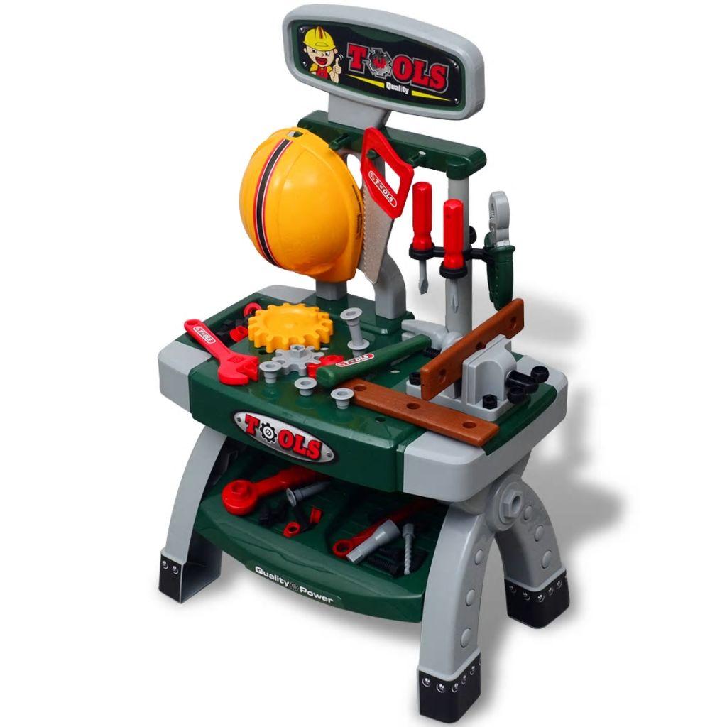 Detská hračkárska dielňa s náradím, zelená a sivá