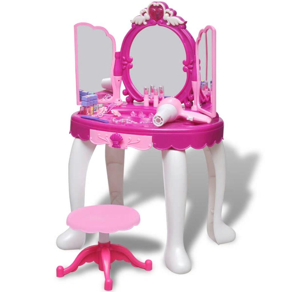 Detský toaletný stolík s 3 zrkadlami a svetelnými/zvukovými efektmi