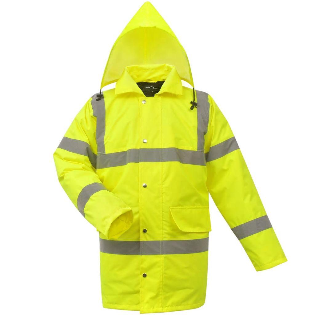 vidaXL Pánska reflexná vetrovka, žltá, veľkosť L, polyester
