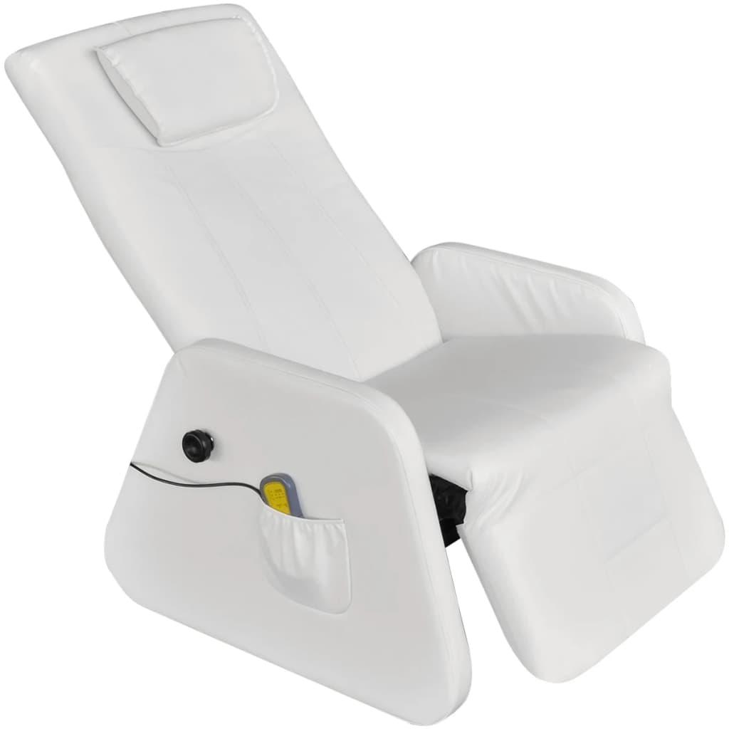 vidaXL Biele elektrické masážne kreslo z umelej kože, nulová gravitácia