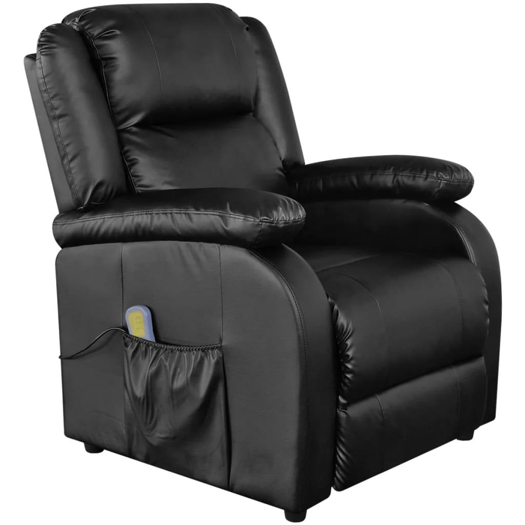 vidaXL Čierne elektrické TV/masážne kreslo z umelej kože, nastaviteľné