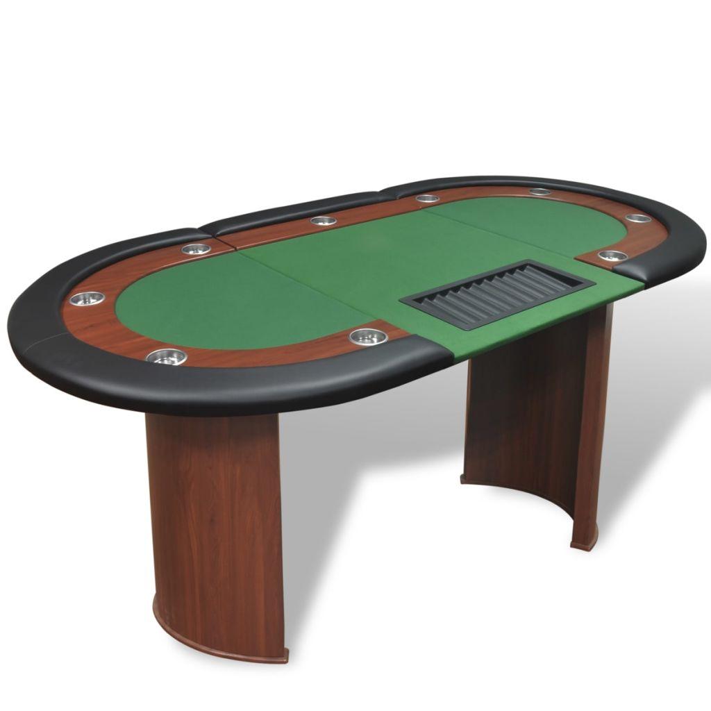 vidaXL Pokerový stôl pre 10, zóna pre dílera, držiak na žetóny, zelený