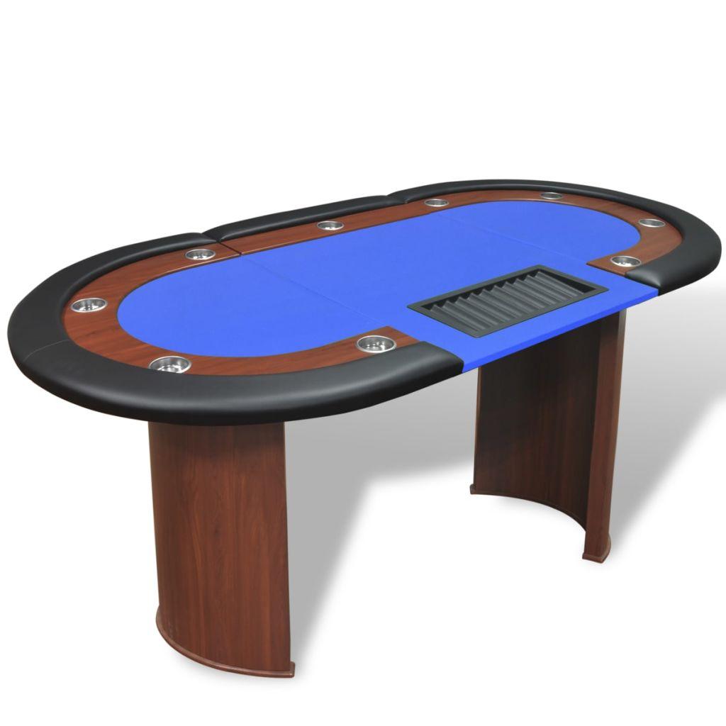 vidaXL Pokerový stôl pre 10, zóna pre dílera, držiak na žetóny, modrý