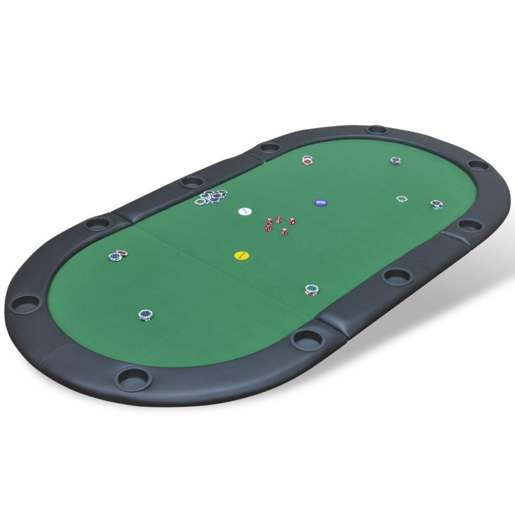 vidaXL Podložka na poker pre 10 hráčov, skladacia, zelená