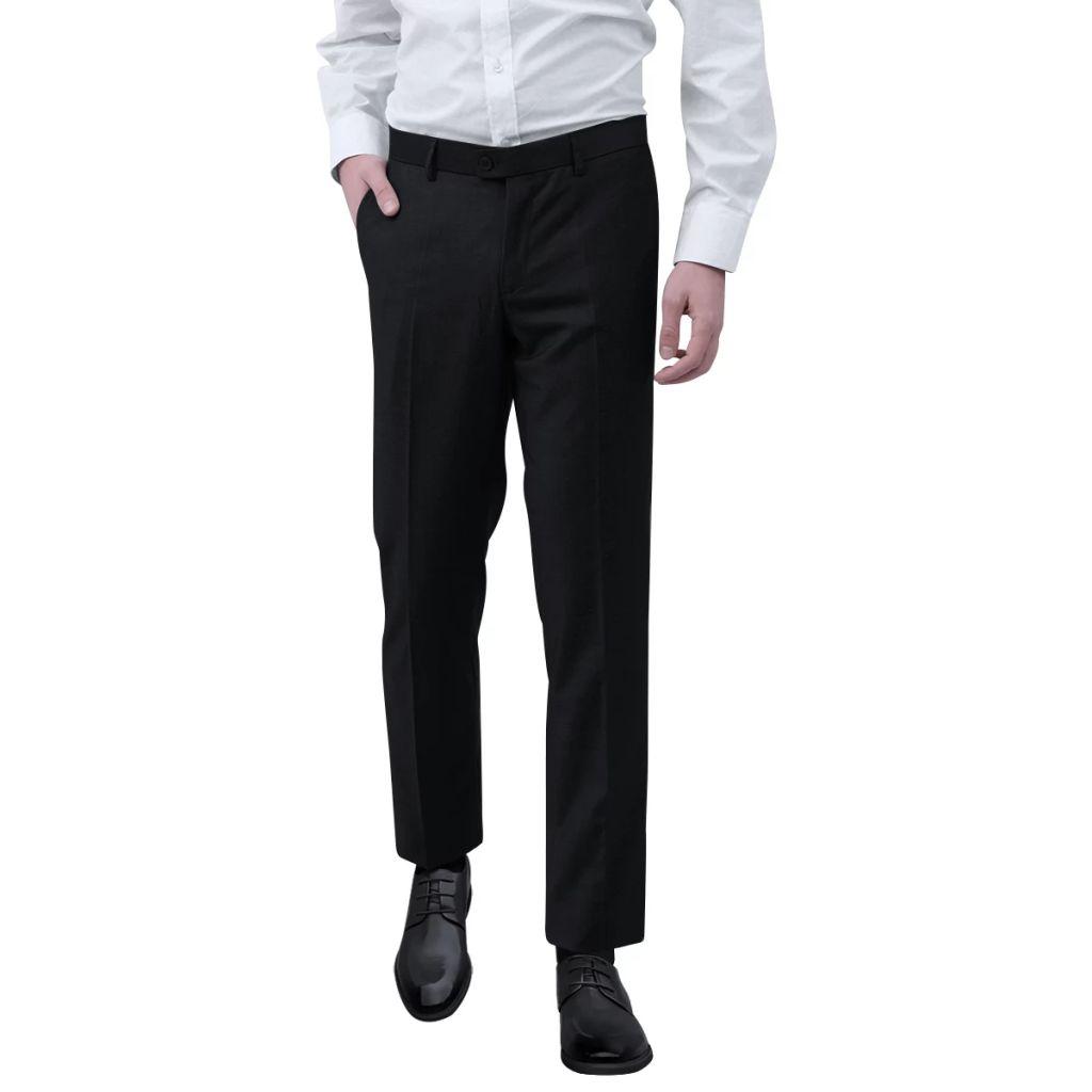 vidaXL Pánske oblekové nohavice, čierne, veľkosť 48