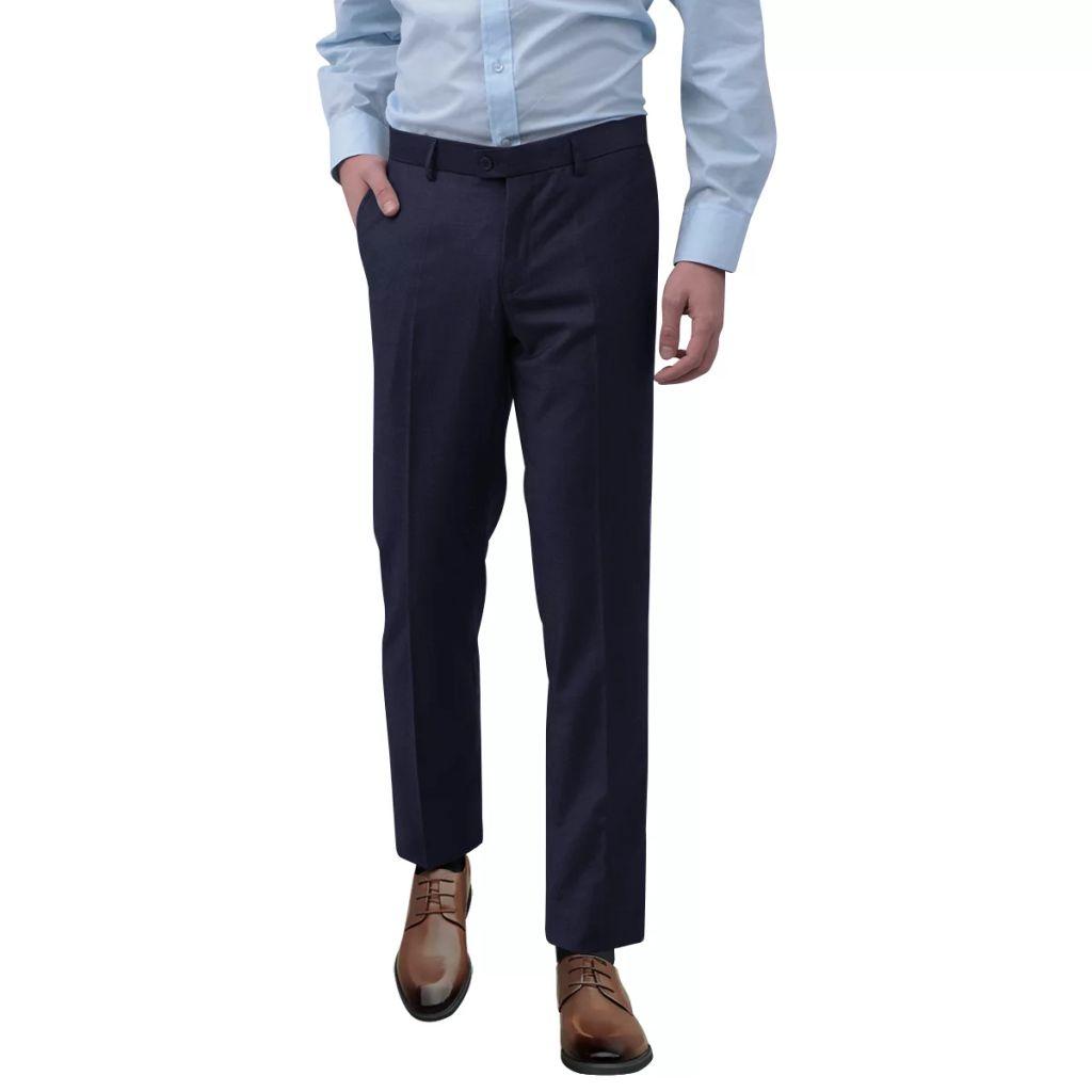 vidaXL Pánske oblekové nohavice, tmavomodré, veľkosť 46