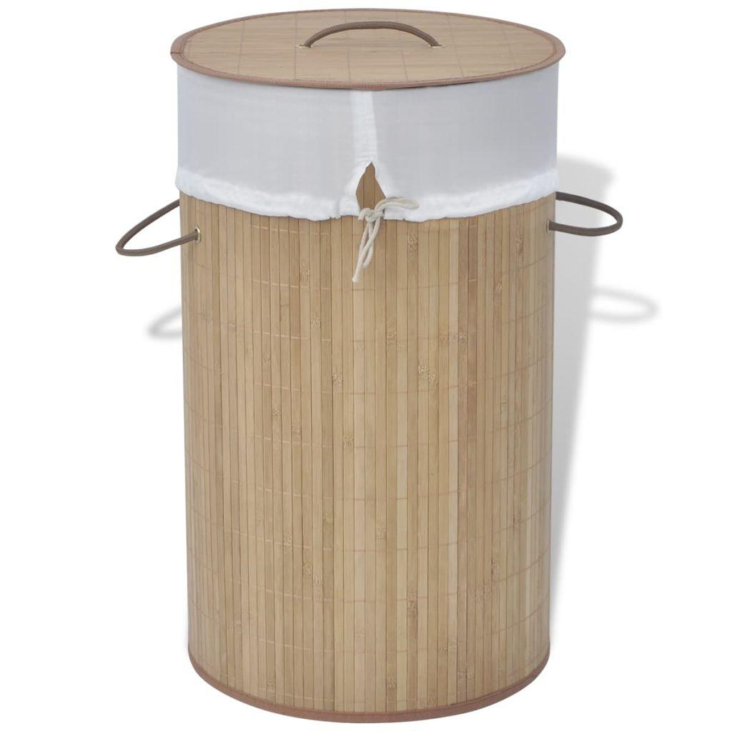 vidaXL Bambusový kôš na prádlo, okrúhly, prírodná farba