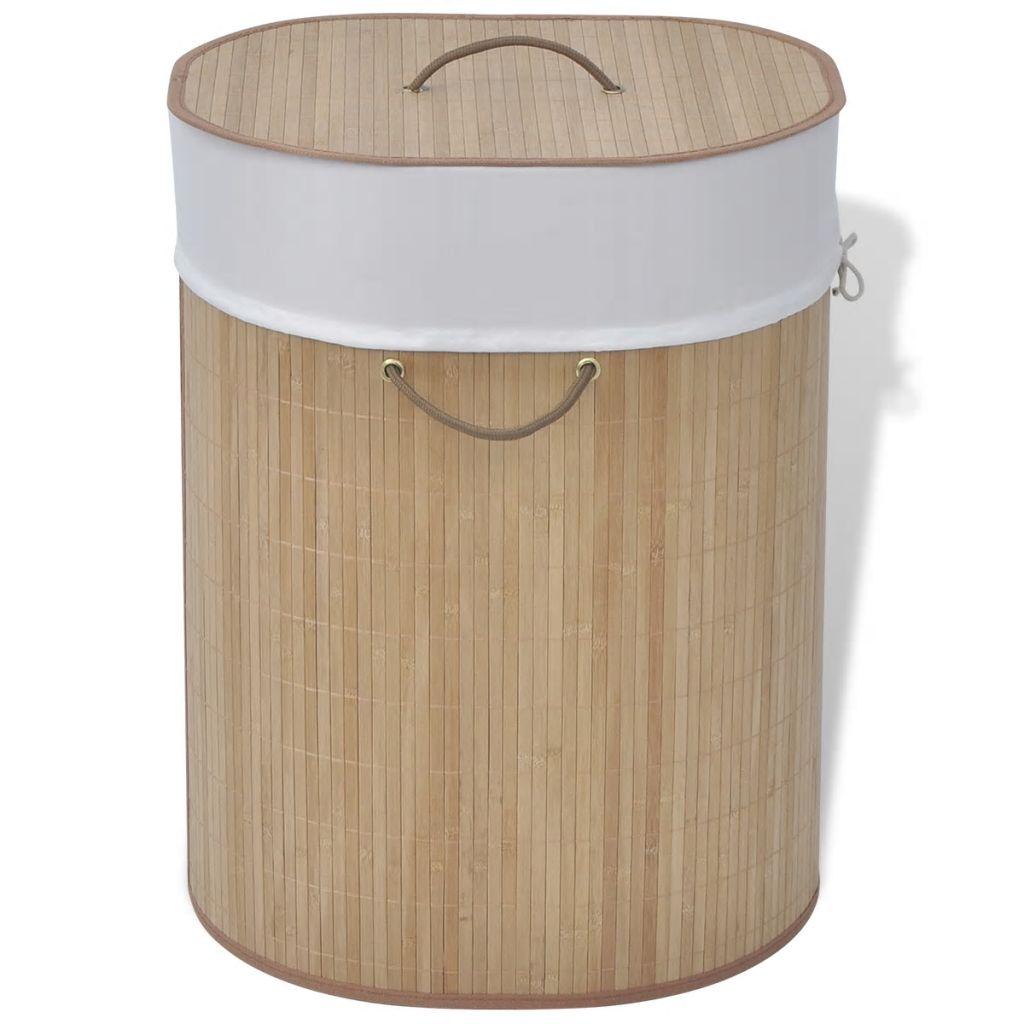 vidaXL Bambusový kôš na prádlo v prírodnej farbe, oválny