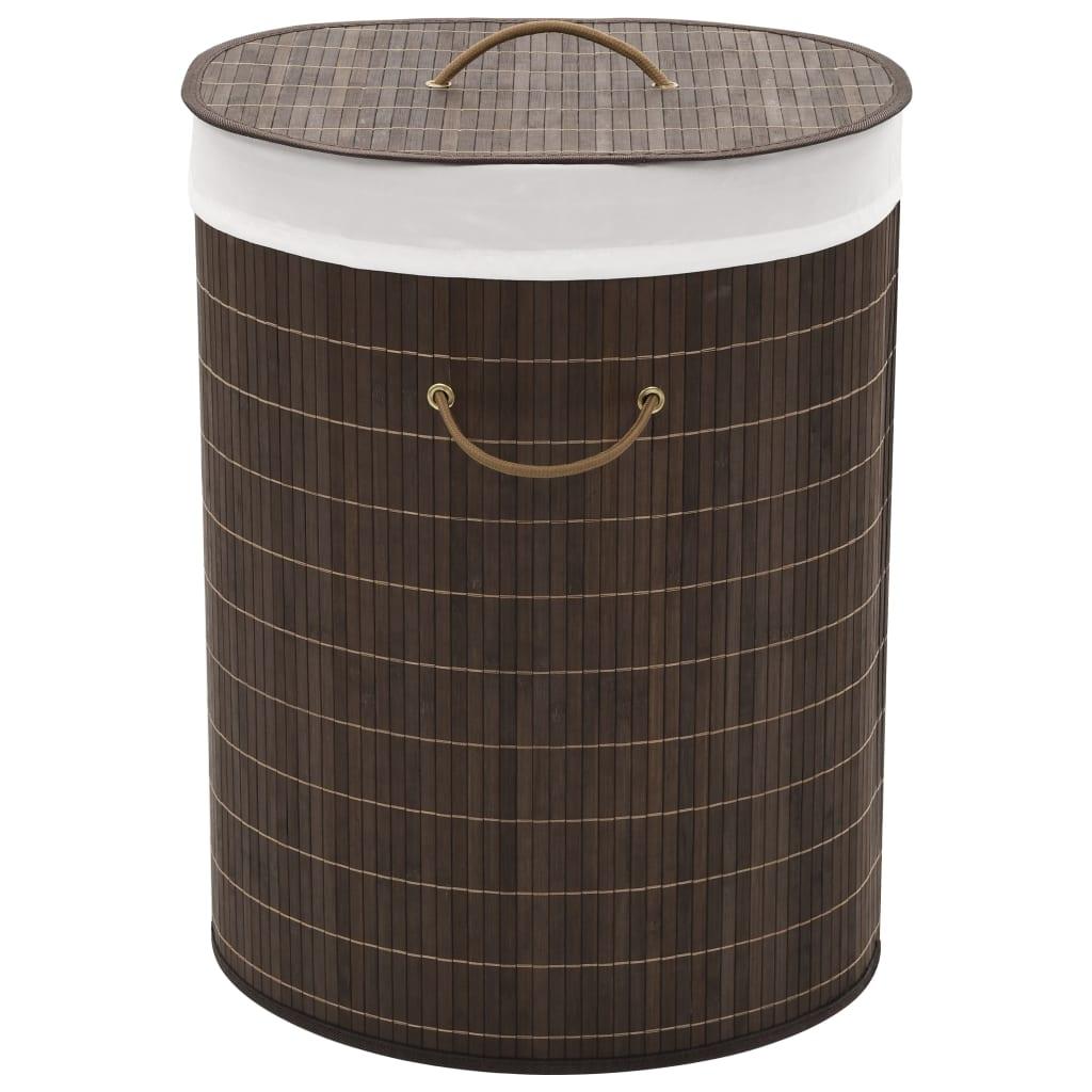 vidaXL Bambusový kôš na prádlo, oválny, hnedý