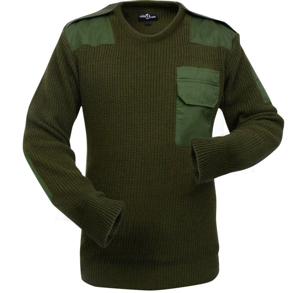 vidaXL Pánsky pracovný pulóver, army zelená, veľkosť XL
