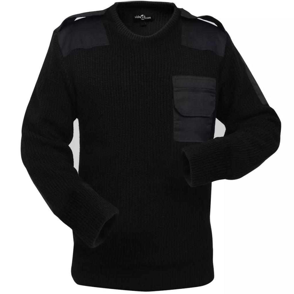 vidaXL Pánsky pracovný pulóver, čierny, veľkosť M