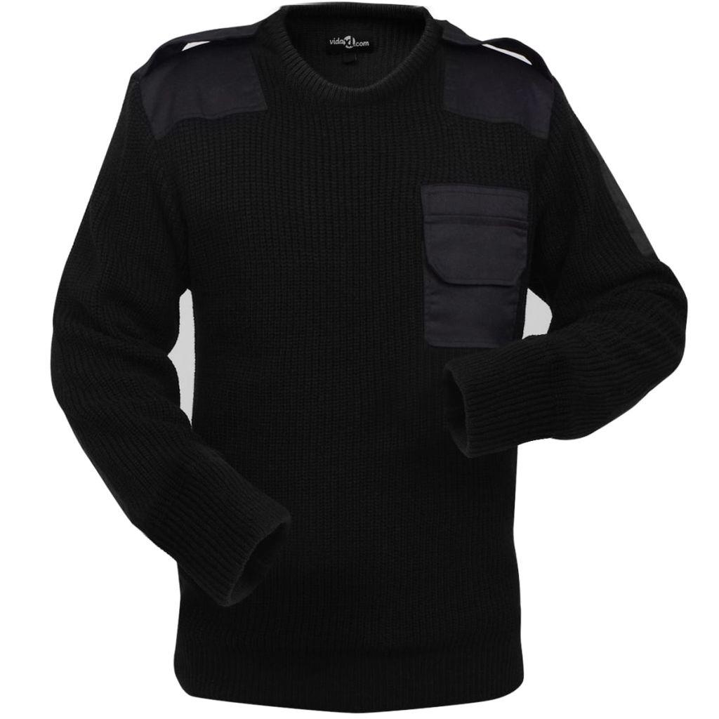 vidaXL Pánsky pracovný pulóver, čierny, veľkosť L