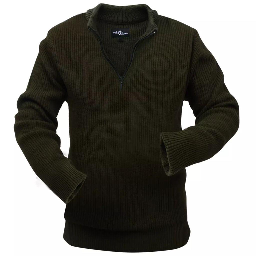 vidaXL Pánsky pracovný pulóver, vojenská zelená, veľkosť L