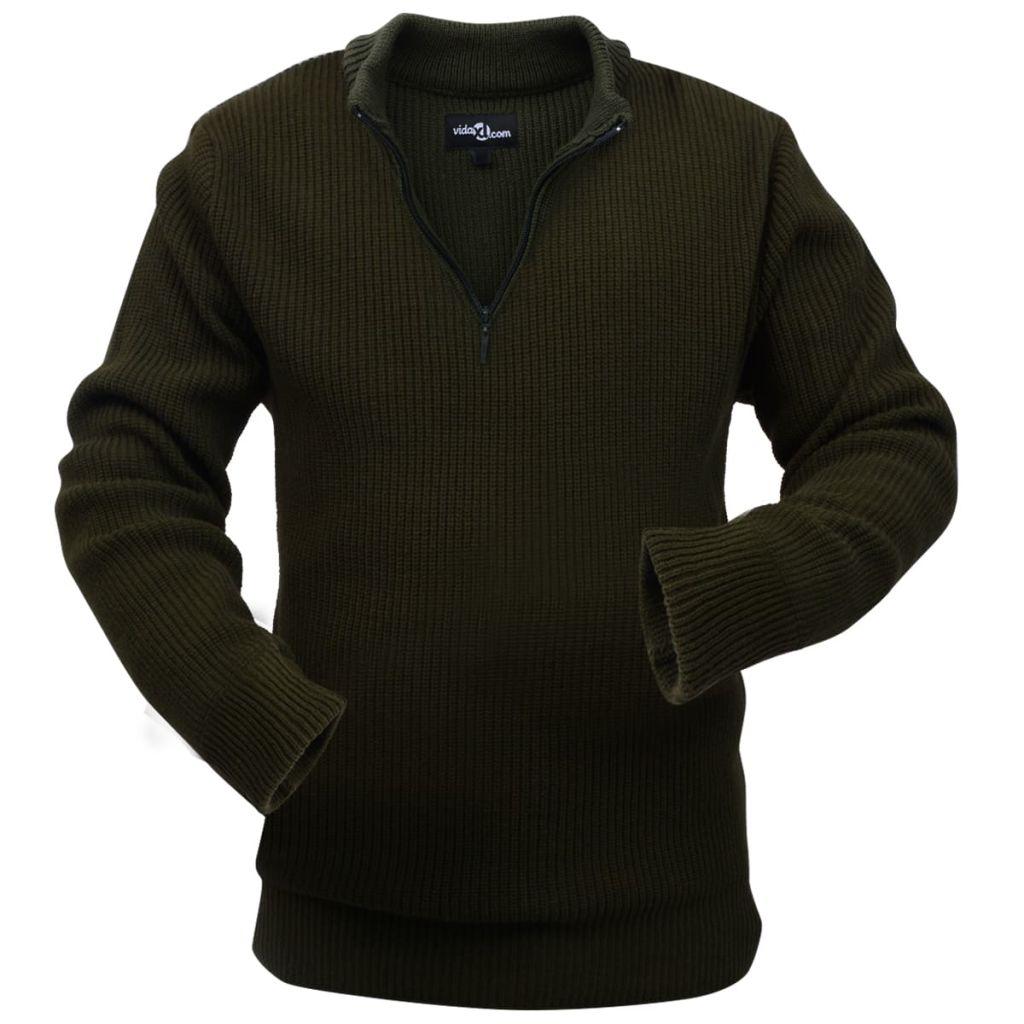 vidaXL Pánsky pracovný pulóver, vojenská zelená, veľkosť XXL