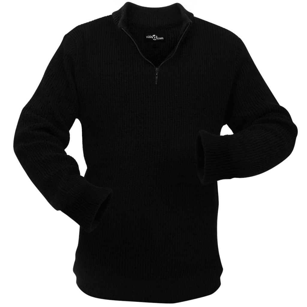 vidaXL Pánsky pracovný pulóver, čierny, veľkosť XXL