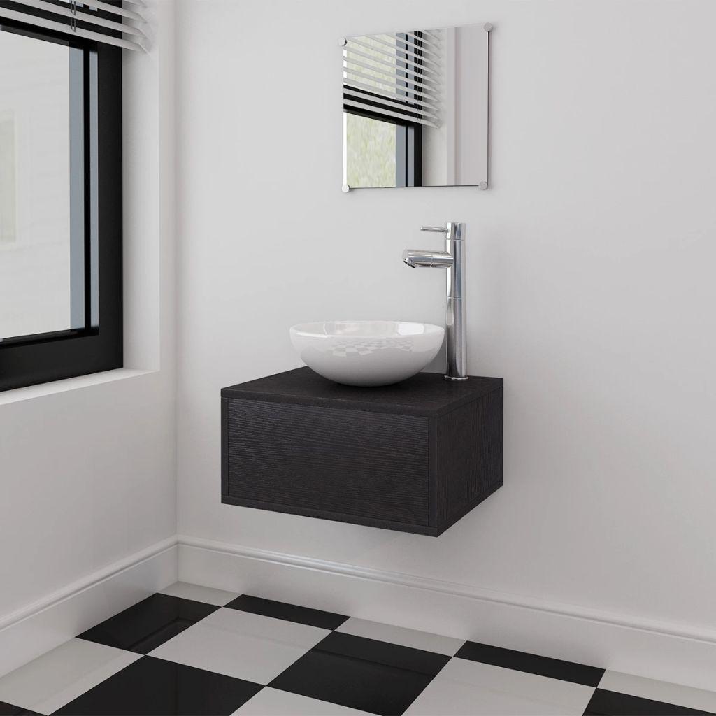 vidaXL 3ks kúpeľňová sada nábytku a umývadla čierna
