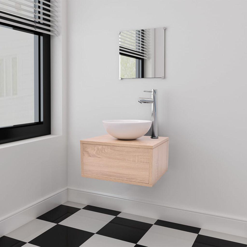 vidaXL 3ks kúpeľňová sada nábytku a umývadla béžová (242558+242569)