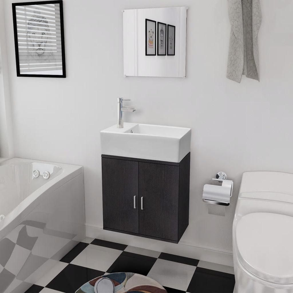 vidaXL 3-dielna sada kúpeľového nábytku s umývadlom, čierna