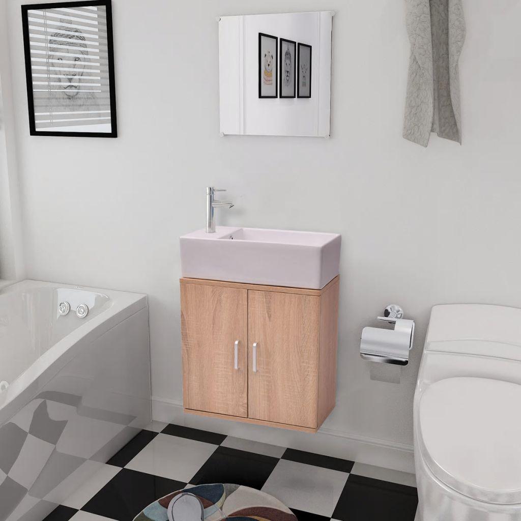 vidaXL 3-dielna sada kúpeľového nábytku s umývadlom, béžová