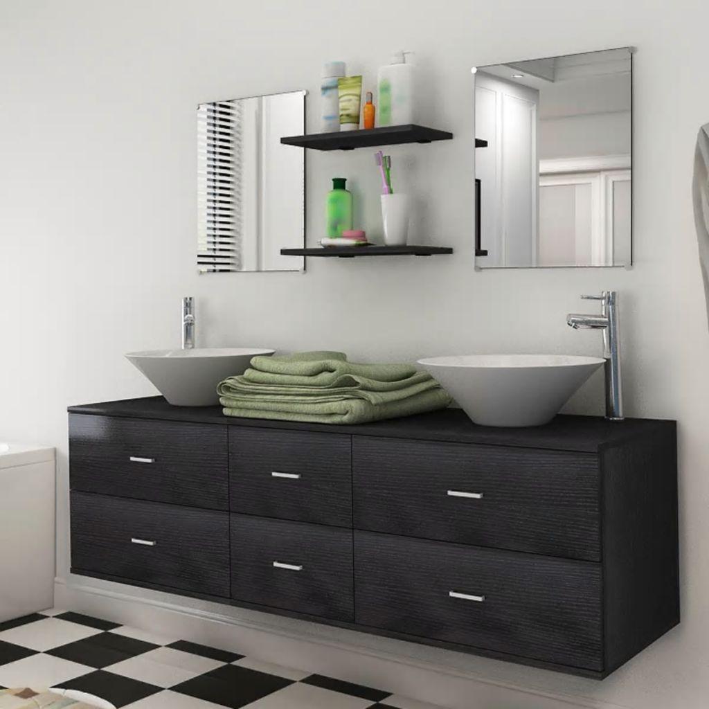 vidaXL 7ks kúpeľňová sada nábytku a umývadla čierna