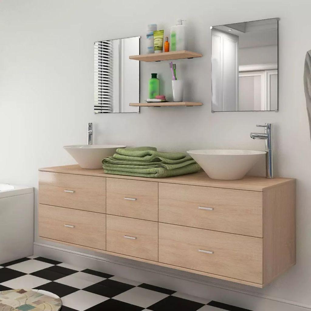 vidaXL 7ks kúpeľňová sada nábytku a umývadla béžová