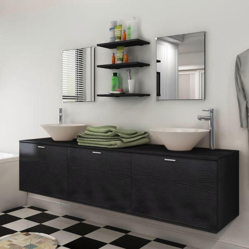 vidaXL 8ks kúpeľňová sada nábytku a umývadla čierna (242565+242571)