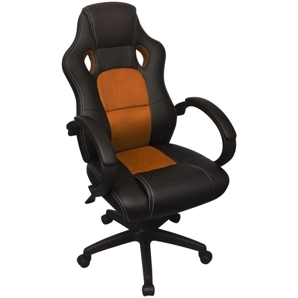 vidaXL Riaditeľské kancelárske kreslo v závodnom štýle z umelej kože, oranžové