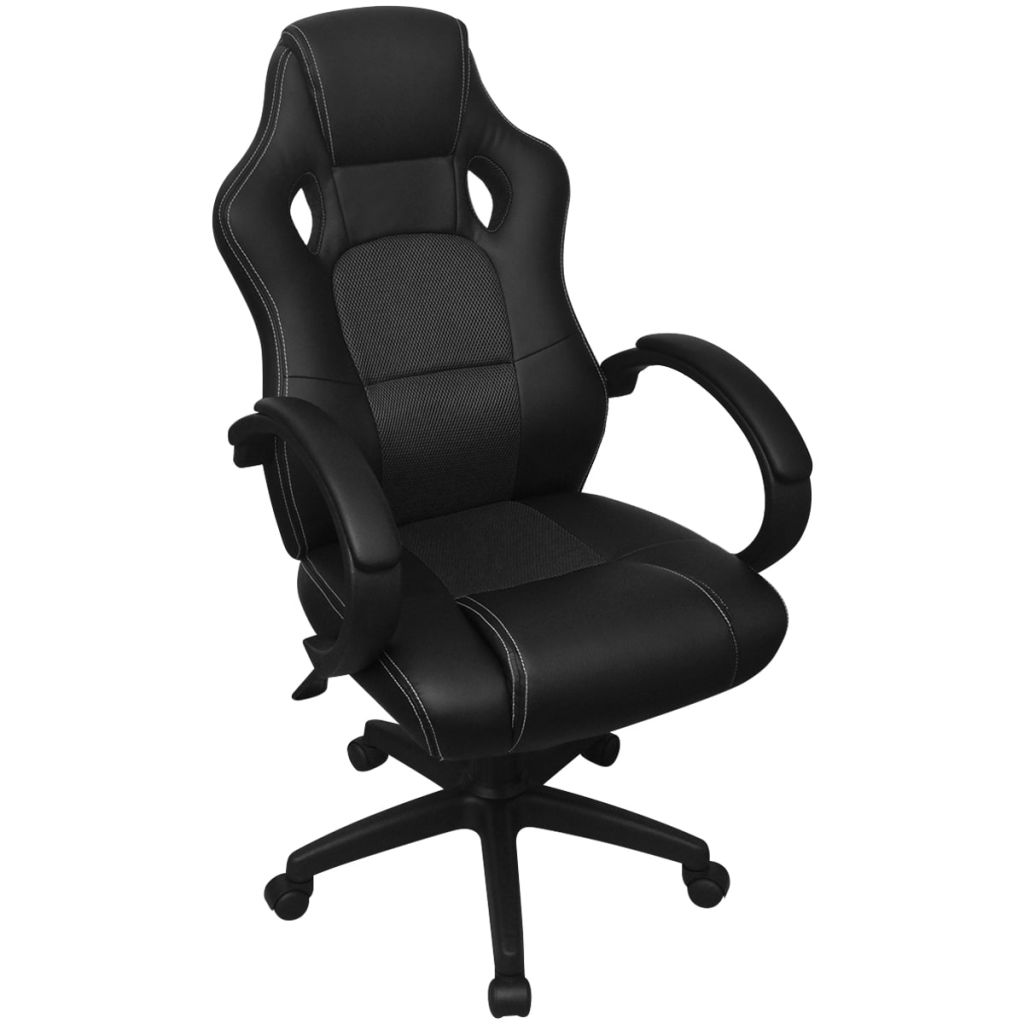 vidaXL Exkluzívne kancelárske pretekárske kreslo z umelej kože, čierne