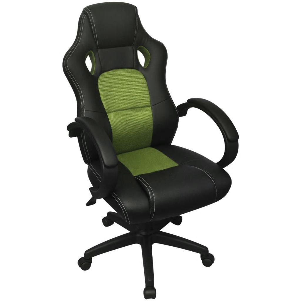 vidaXL Riaditeľské kancelárske kreslo v závodnom štýle, zelené