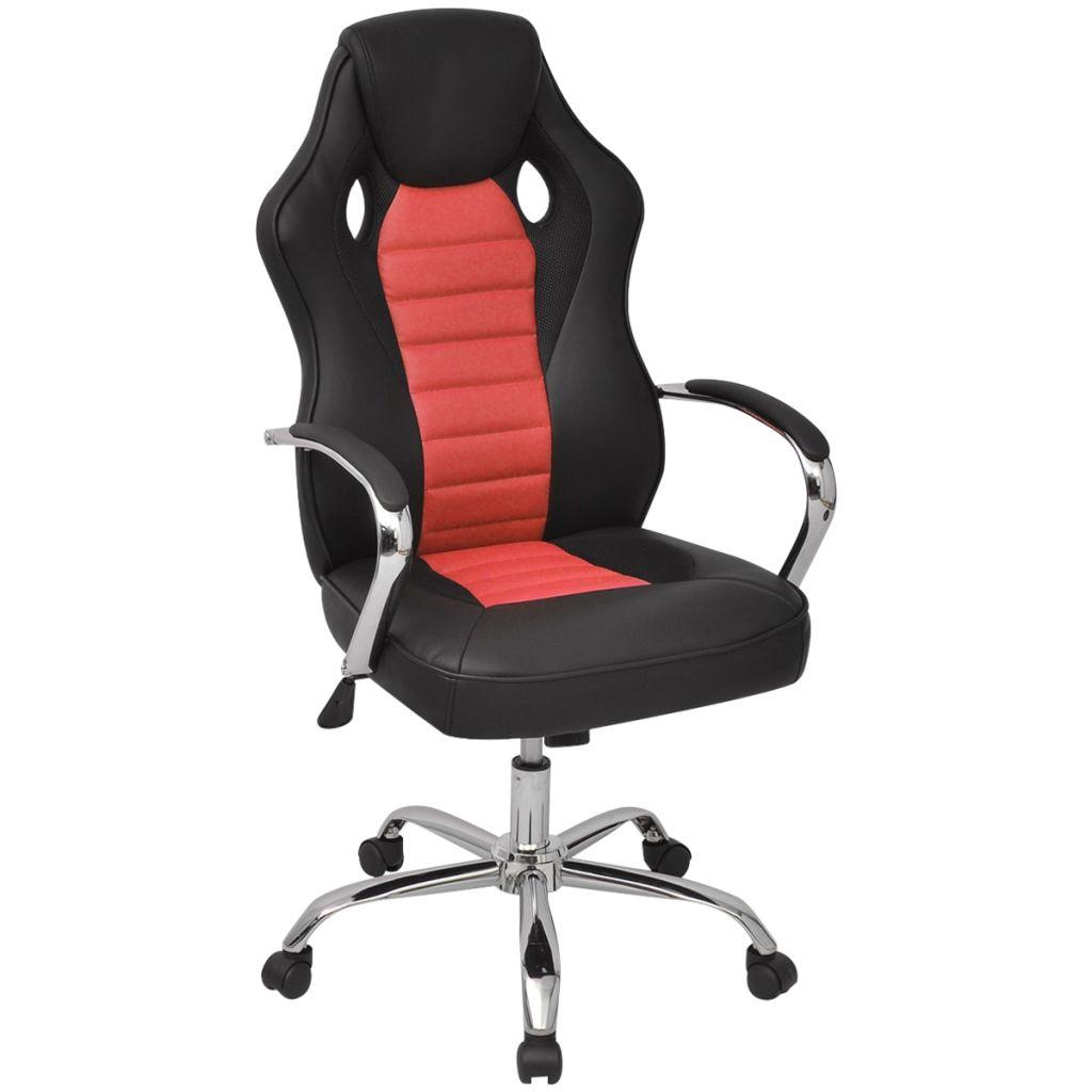 vidaXL Riaditeľské kancelárske kreslo v závodnom štýle z umelej kože, červené
