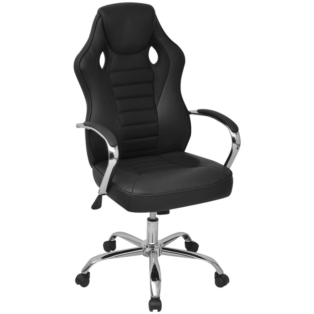vidaXL Riaditeľské kancelárske kreslo v závodnom štýle, čierne