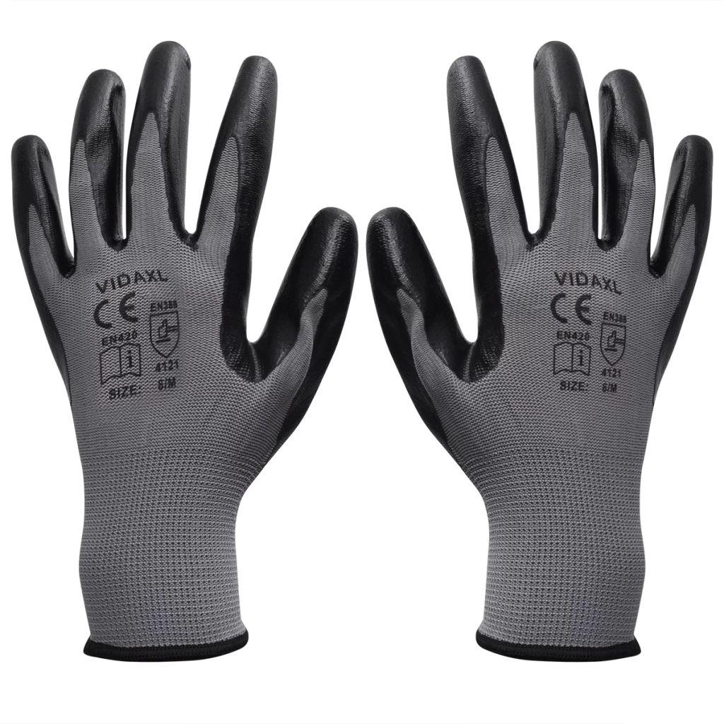 vidaXL Nitrilové pracovné rukavice, 24 párov, veľkosť 8/M, šedo-čierne