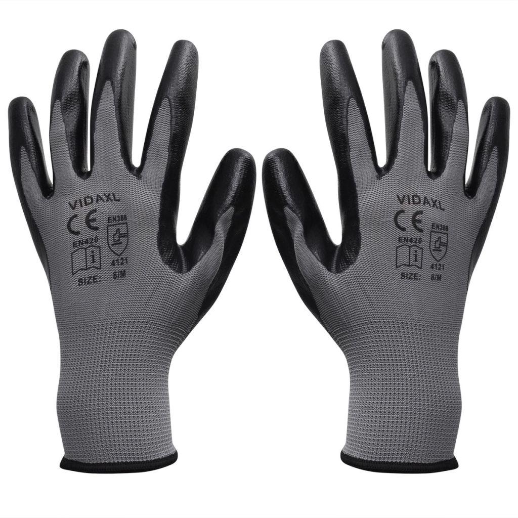 vidaXL Pracovné rukavice nitrilové, 24 párov, veľkosť 9/L, šedá a čierna