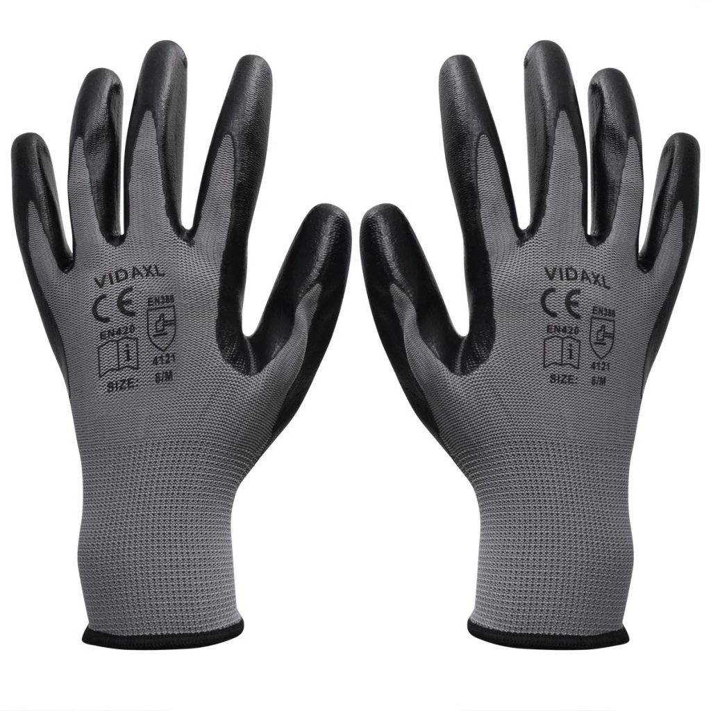 vidaXL Pracovné rukavice nitrilové, 24 párov, veľkosť 10/XL, šedá a čierna
