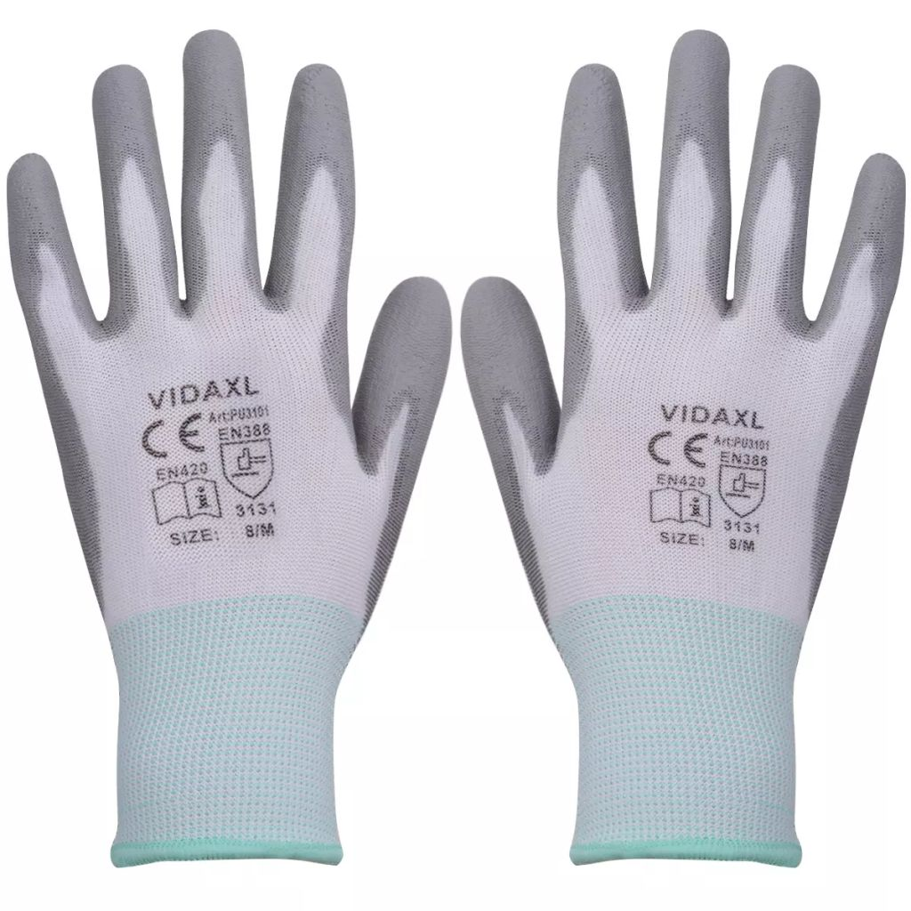 vidaXL Pracovné rukavice z PU, 24 párov, veľkosť 8/M, bielo-sivé