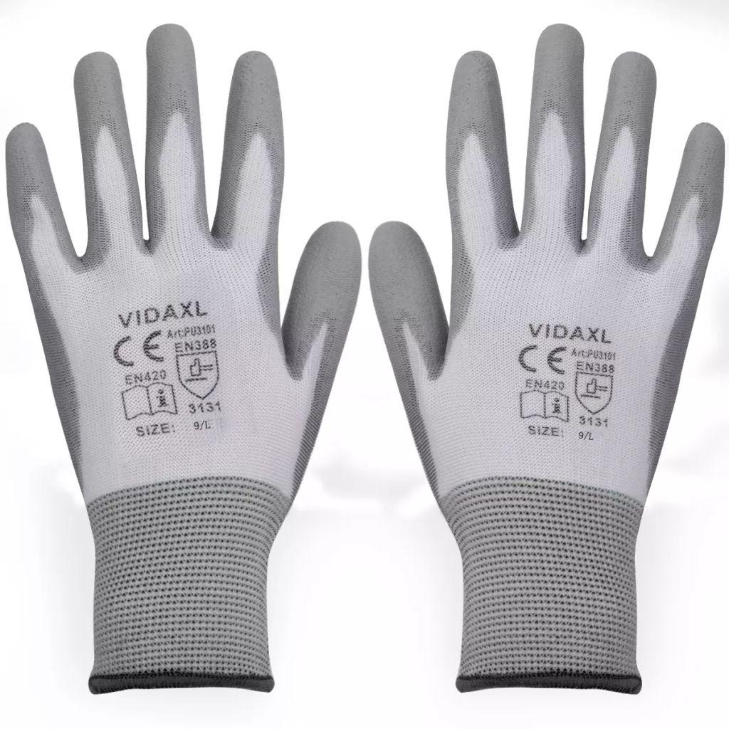 Bielo šedé pracovné rukavice z PU, veľkosť 9/L, 24 párov vidaXL