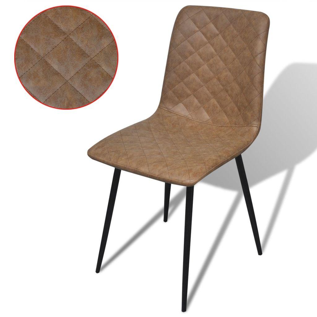10646c4f8f699 vidaXL Jedálenské stoličky, 2 ks, umelá koža, hnedá