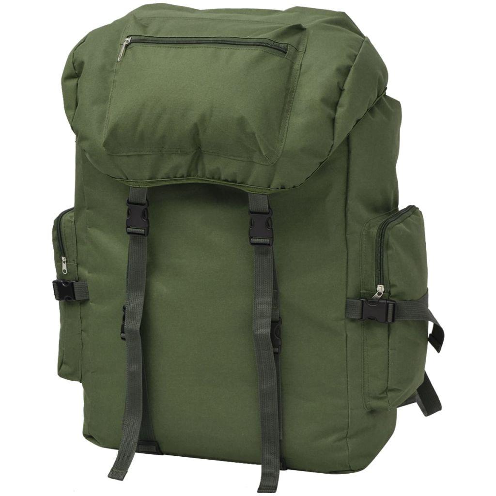 vidaXL Batoh vo vojenskom štýle 65 l, zelený