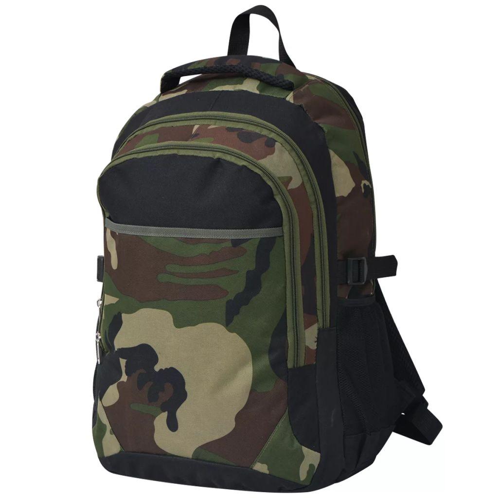 vidaXL Školský ruksak 40 l, čierny a maskáčový