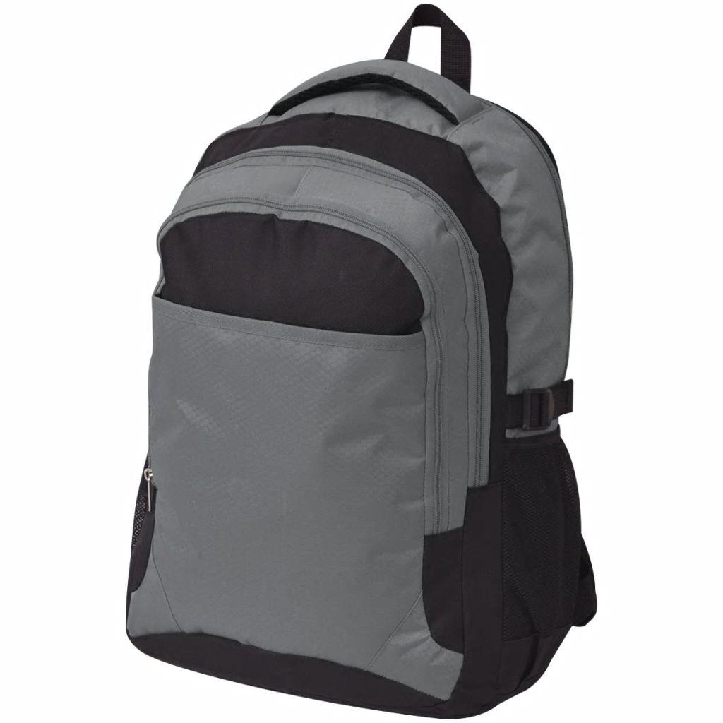 vidaXL Školský ruksak 40 l, čierno-sivý