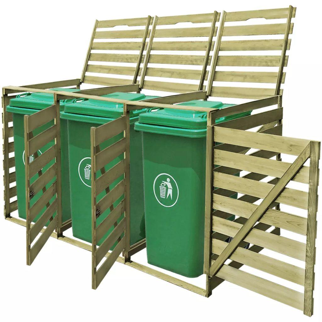 vidaXL Impregnovaná drevená ohrada na tri vonkajšie odpadkové koše 240 l