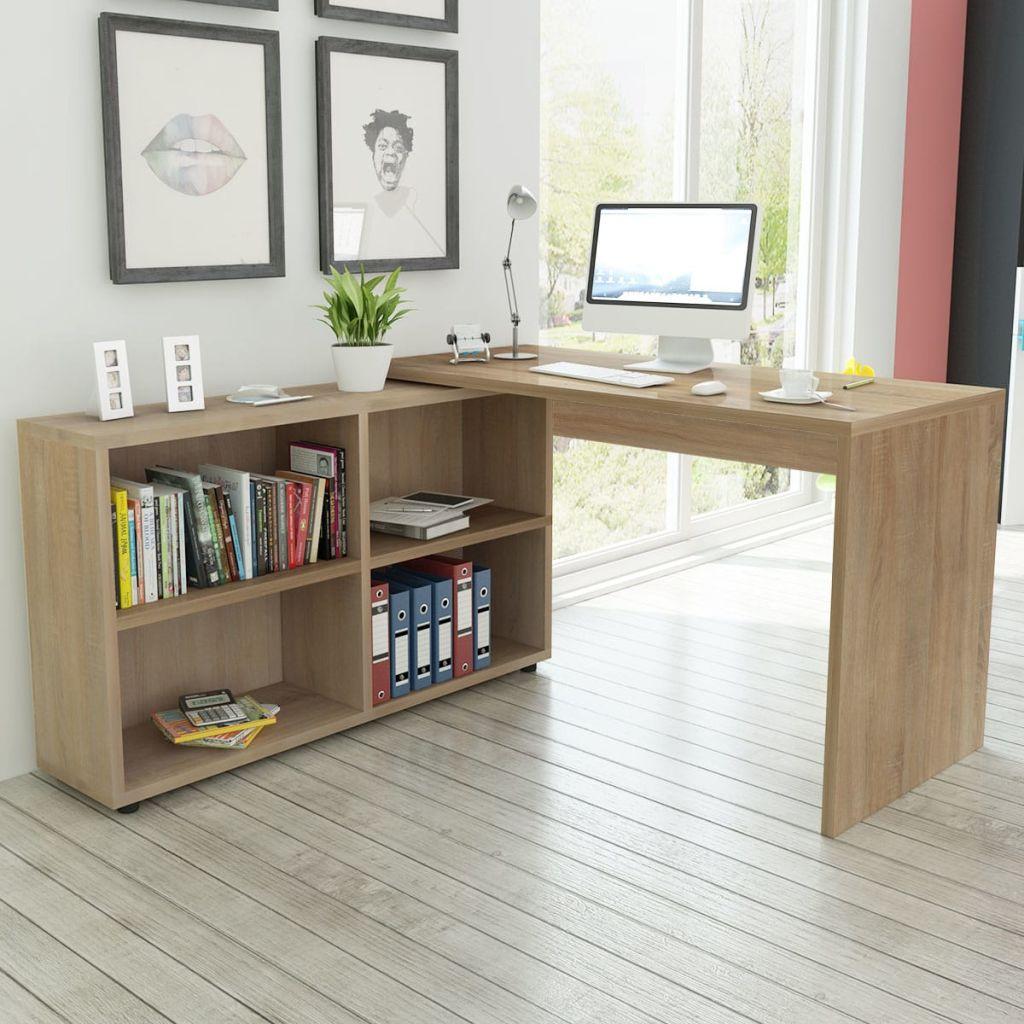 vidaXL Rohový stôl so 4 poličkami, dubový