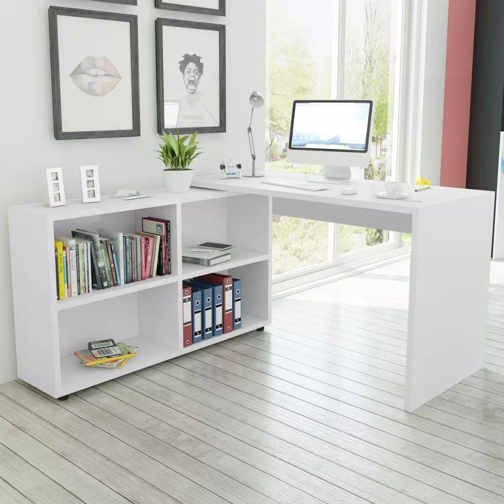 vidaXL Rohový stôl so 4 poličkami, biely