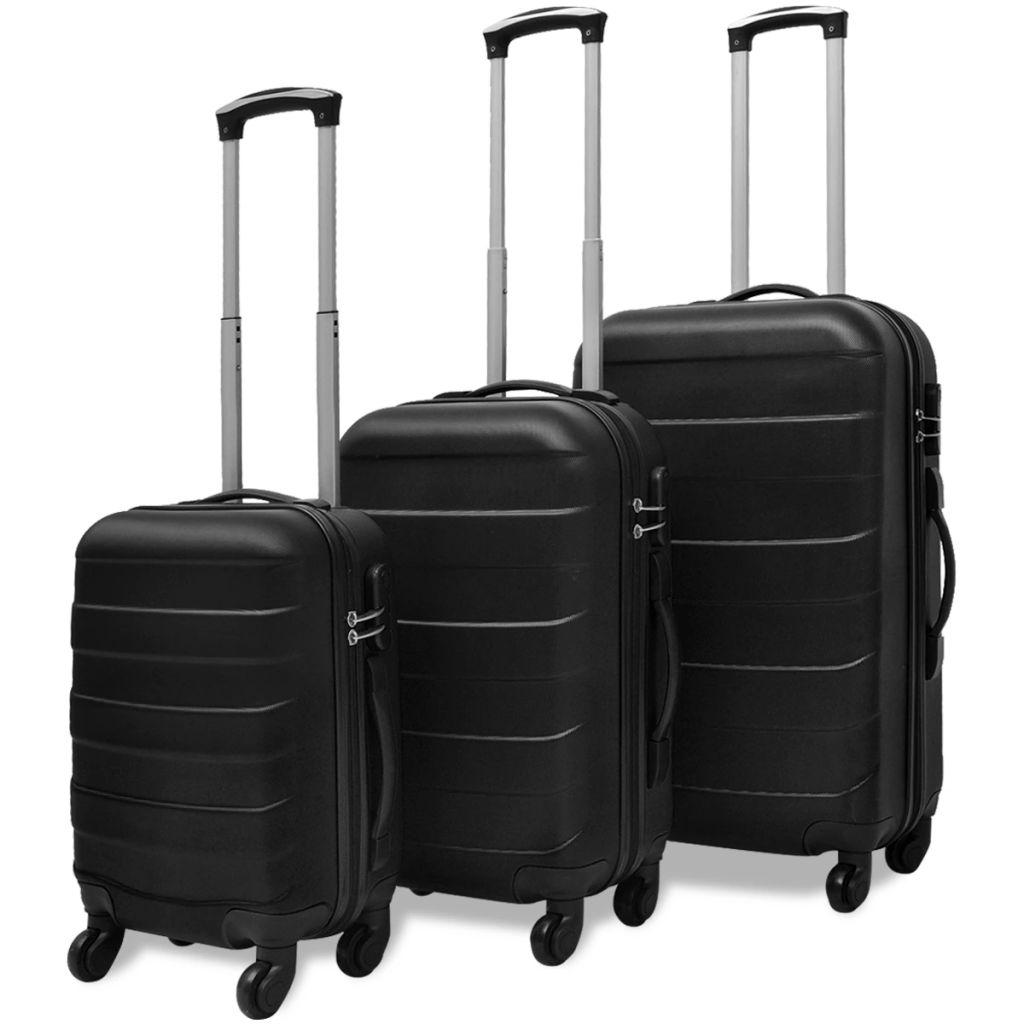 Sada troch čiernych cestovných kufrov na kolieskach vidaXL
