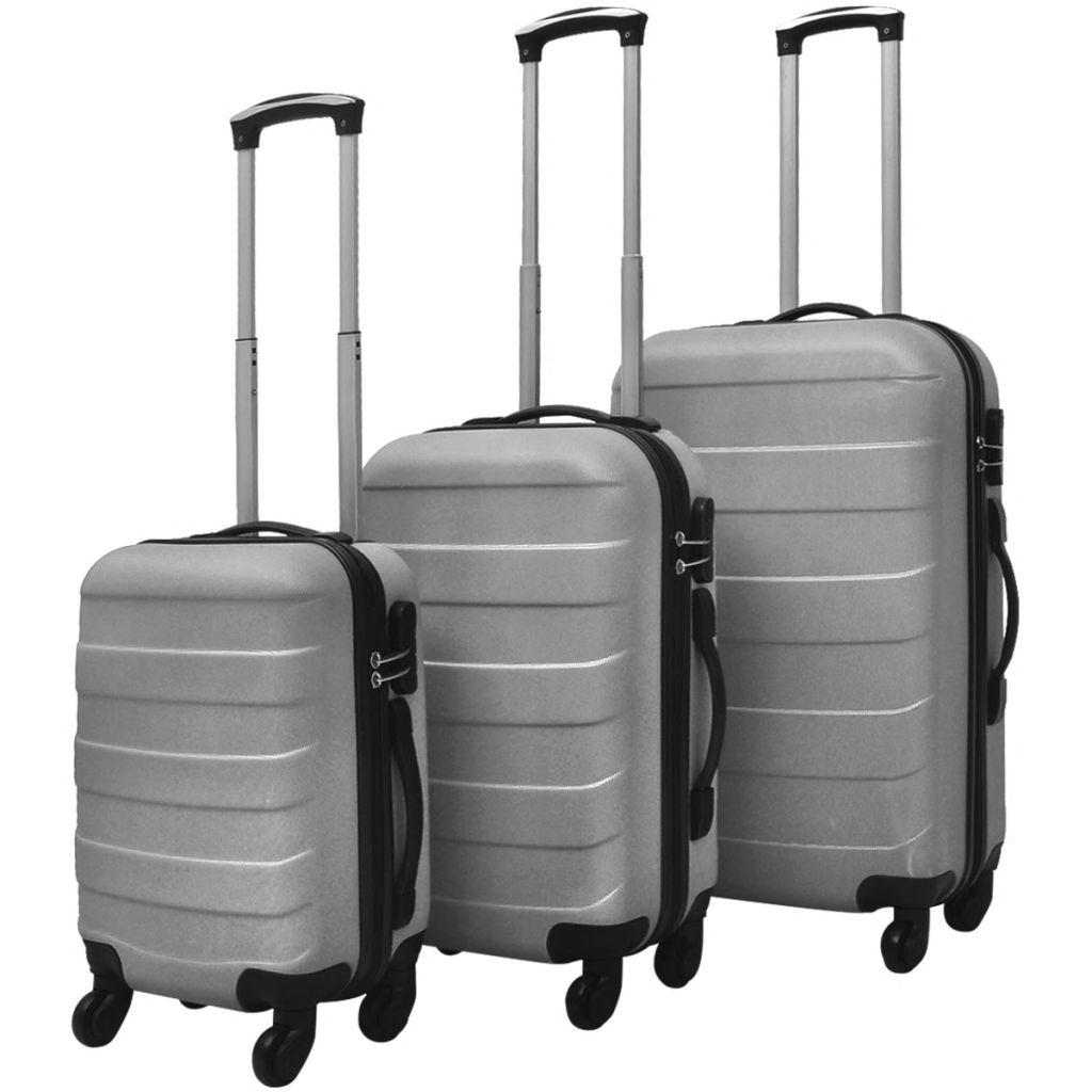 5e2155e461 Sada troch strieborných cestovných kufrov na kolieskach vidaXL