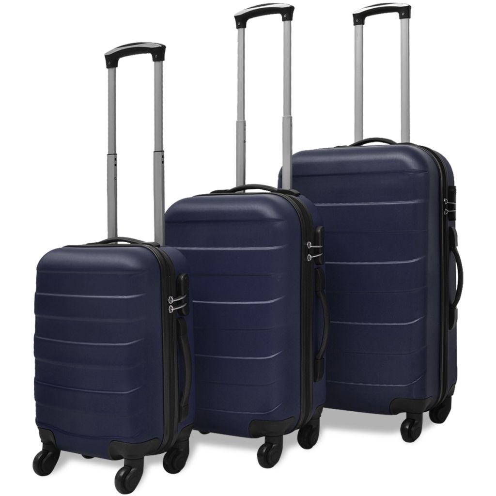 Sada troch modrých cestovných kufrov na kolieskach vidaXL