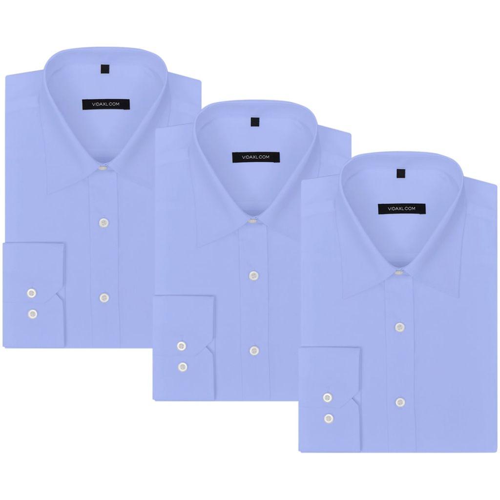 vidaXL Pánska business košeľa, 3 ks, veľkosť S, bledomodrá